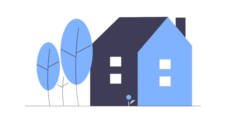 flat graphic of a house with trees next to it